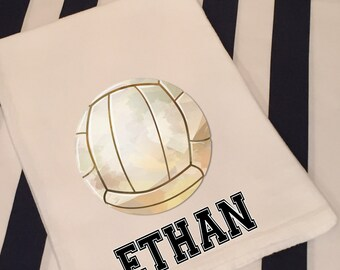 Personalized Sports Volleyball White Flour Sack Hand Towel Boys Girls Bathroom Hand Towel Birthday Party Favor Sports Gift