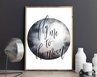 Fly Me to the Moon Frank Sinatra Quote Watercolour Moon Typography Wedding Anniversary Couples Gift Wall Art Print
