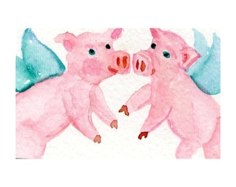 ACEO original Flying Pigs Painting Watercolor - PIG art, ACEO, when pigs fly, whimsical miniature art card, pigs with wings, SharonFosterArt