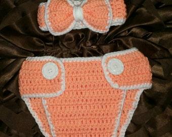 Sale!- Baby girl Crochet diaper cover set