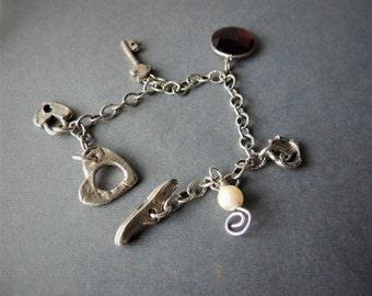 Silver Charm Bracelet, Love Bracelet, Artisan Silver Charm, Artisan Jewelry, Handcrafted Jewelry, Romantic Gift, Urban Chic