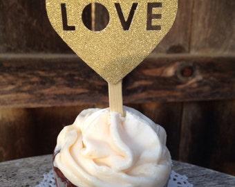 Love Cupcake Picks/gold wedding cupcake toppers