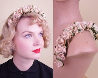 Vtg 30s Pink Paper Roses Headdress/Crown