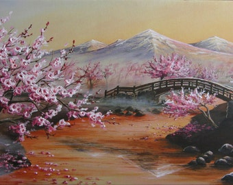15x30 Cherry Blossom Painting on Gallery Canvas by J. Mandrick