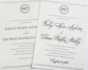 Wedding Invitation with Monogram - Classy Wedding Invitation