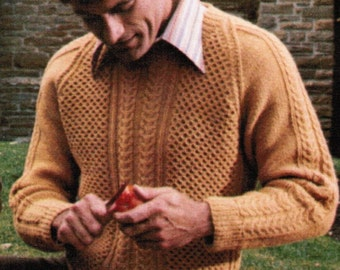 Arran Adult's Pullover Pattern Knitting PDF / Women's Sizes 12 14 16 Men's Sizes 38 40 42 / fisherman knit sweater / aran knitted sweater
