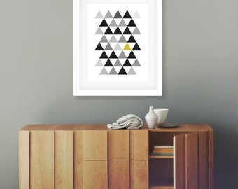 Geometric Yellow, Printable, 8x10, Wall Art, Scandi, Grey, A4, 8x10, Minimalist Print, Modern Decor, Home, Graphic Design Poster, Triangles