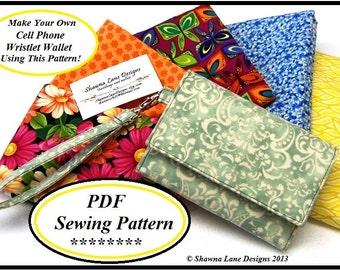 wallet sewing pattern, PDF sewing purse pattern, cell phone wallet pattern, womens wallet sewing pattern, digital pattern, sewing tutorial
