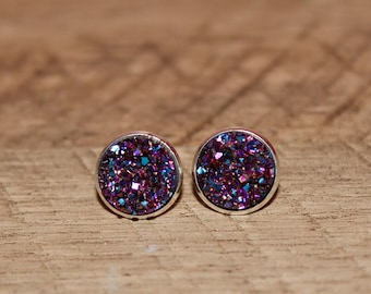 Purple Teal Rainbow Druzy Earrings
