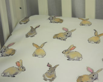 Organic Fitted Crib Sheet / Mini Crib Sheet - Organic Watercolor Cute Bunny's