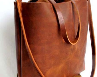 Brown Leather Tote Bag - brown leather bag - large brown tote - Travel Bag - Leather Market bag - leather shopper - on sale- Sale