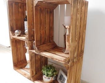 """4-pack of flamed wooden crates with white flooring """"shabby chic"""""""