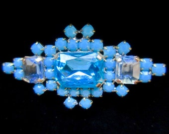 Vintage Style Outstanding Czech Rhinestone Button Turquoise and Blue  Must Have