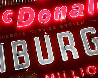 Vintage McDonalds neon sign photograph