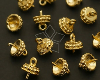 CP-039-GD / 8 Pcs - Round Box Bead cap with peg, Gold Plated over Brass / 5.5mm