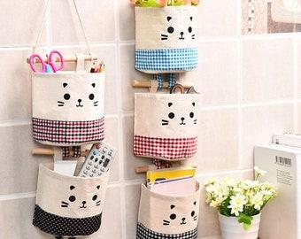 Cute Kitty Cat Wall or Door Hanging Cotton Linen Storage Bag Organizer
