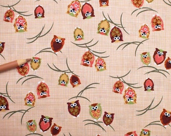 Small Owls - Brown Beige Japanese Import Cotton Print Fabric