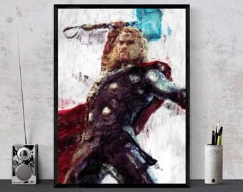 Thor - Hero, Avengers Print, Marvel Comics Illustration, Geek Poster, Printable, Children Prinst, Drawings, Boys Wall Art, God of Thunder