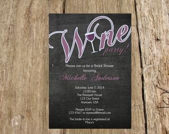 Wine Tasting Bachelorette Party Bridal Shower Chalkboard Invitation