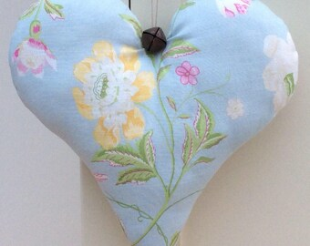 Handmade Shabby Chic Extra Large Hanging Heart Decoration ~ Laura Ashley Summer Palace Duck Egg Cotton/Linen Fabric