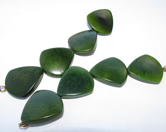 Four Forest Green Tagua Nut Beads, Triangle Beads, 22mm Beads, Vegetable Ivory Beads, Natural Beads, Organic Beads, EcoBeads