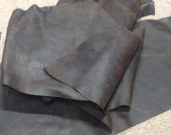 AB302.  Package of 4 Bourbon Brown Leather Cowhide Remnants