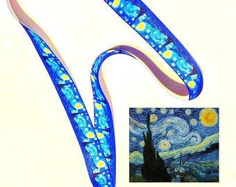 Van Gogh Starry Night, Lanyard or Key Fob, Exclusive Ribbon, Gift