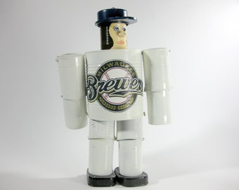 Yard Art Milwaukee Brewers Tin Can Man ~ Yard Design Hanging Art