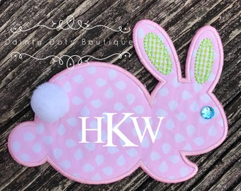 Monogram Bunny Patch   Iron On Easter Bunny Patch   Make Your Own Easter Shirt   Pink Dotted Monogram Easter Bunny Patch  