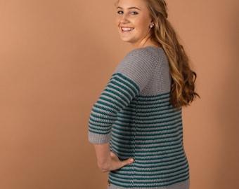 CROCHET sweater PATTERN - Millburn Crochet pullover for women