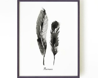 Feather watercolor painting, Feather print, Ink painting, Black and white art, Wall decor, Home decor, Feather art, REMEX Buy 2 Get 1 FREE