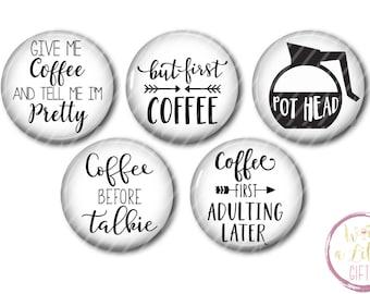 Coffee Fridge Magnets Coffee Magnets Kitchen Decor Coffee lover gift fridge magnets refrigerator magnets Button Magnets Coffee Magnet set
