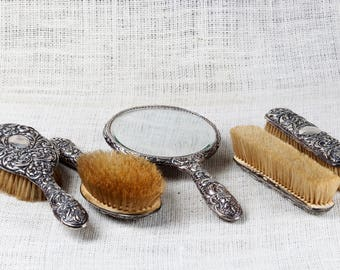 Vintage Ornate, Style Cased Vanity Set, Antique Victorian Design, Sterling Silver Hairbrushes, Mirror, and Rectangular Brushes, Set of 5.