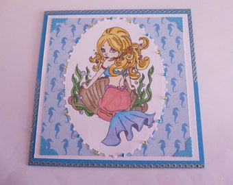 """201817 card for all occasions """"Little Mermaid in her shell"""""""