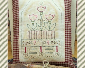 Tulip Tag-Primitive Stitchery E-PATTERN-by Primitive Stitches-Instant Download