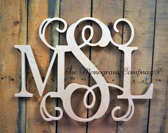 Wooden Monogram- Monogram Wall Hanging- Wedding Monogram- Wooden Letters- Nursery Decor- Door Wreath- Vine Script Wooden Monogram