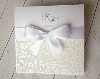 Wedding Invitations, wedding invitation, white, Ecru, glittering wedding invitations with satin ribbon. Printing and handling incl.