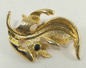Vintage leaf brooch pin 70's