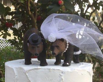 Bear Cake Topper, Black Bear Wedding Cake Topper, Animal Cake Topper, Woodland Cake Topper, Forest Cake Topper
