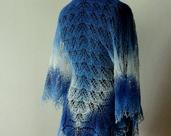 Hand knitted lace shawl, gradient wool shawl in blue-white colors, beautiful fall accessory
