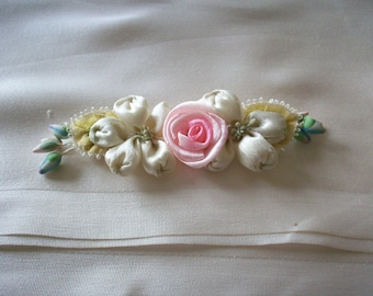 silk flowers pin/piece antique authentic ribbon work