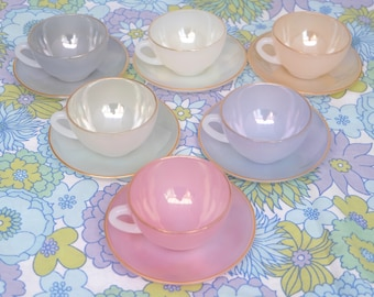 Arcopal Tea Set, Opalescent Tea Set, Vintage Arcopal Cups & Saucers, Harlequin, Pastel Tea Set, French Tea Set, French Arcopal Glassware,