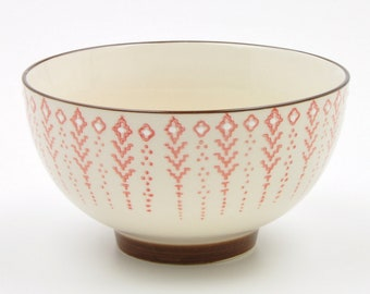 Red And Green Patterned Ceramic Bowl Hand Painted