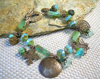Czech Glass and Brass Charm Bracelet With Bold Green Beads, Copper Charms