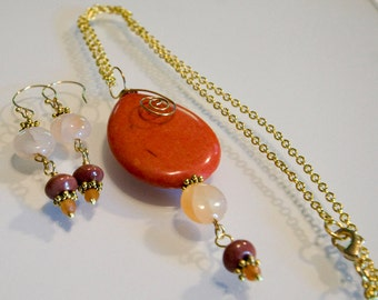 Orange Turquoise and Agate Necklace and Earrings Set Handmade