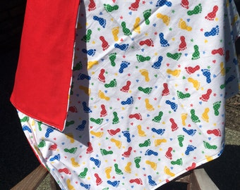 Flannel Baby Blanket / Kid Car Blanket - Baby Footprints on White, Primary Colors, Red Back, Personalization Available
