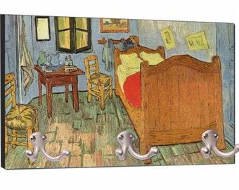 """Artist Vincent Van Gogh's Bedroom at Arles Painting - 8"""" by 16"""" Mountable Coat Hanger Rack"""