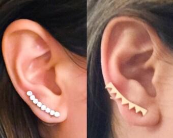 2 Dainty Ear Climber Earrings, Crawler Earrings, Ear Pins, Ear Sweeps, Ear Jackets, Simple Gifts, Jewelry Gifts, Unusual Jewelry