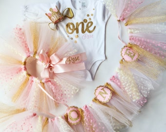 Pink and Gold Outfit - Party Package - Banner - Glitter Birthday Outfit - Baby Girl Tutu - Personalized Confetti - Bubbles - Smash Cake Set