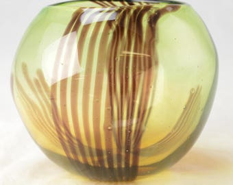 Hand Blown Amber Brown Art Glass Horizontal line Candy Striped Center Bowl